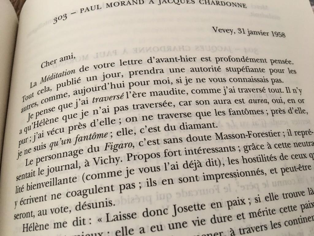Citation de Paul Morand tiré de sa correspondance avec Chardonne.