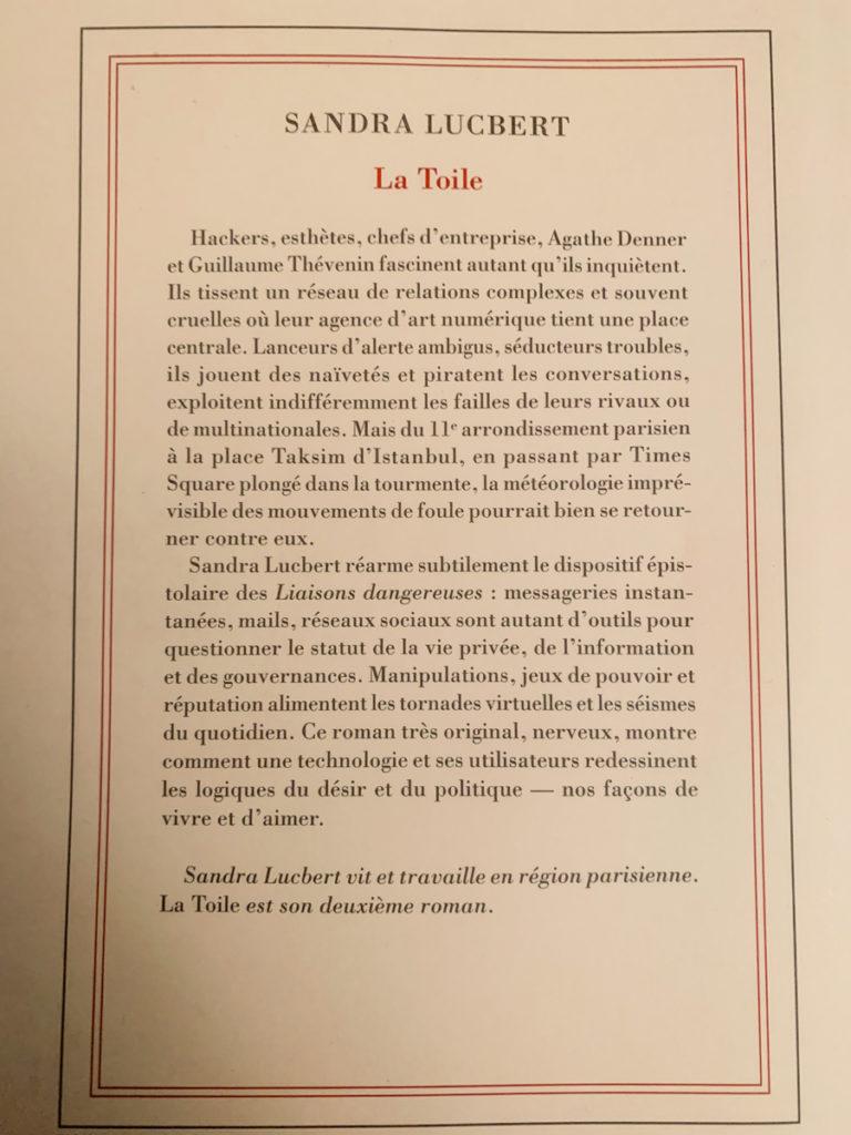 La Toile, de Sandra Lucbert, Gallimard